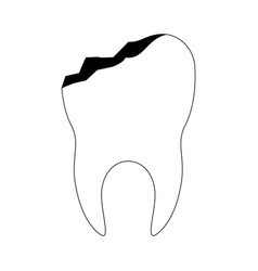 Tooth with root and broken in black silhouette vector