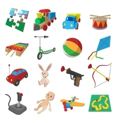 Toys cartoon icons set vector