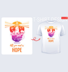 trendy t-shirt print design lighghouse in coffee vector image