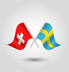 Two crossed swiss and sweden flags vector