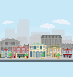 Urban street scene with smart townhouses vector