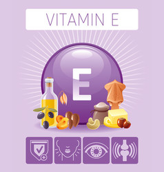 Vitamin e tocopherol nutrition food icons healthy vector