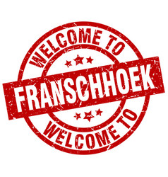 Welcome to franschhoek red stamp vector