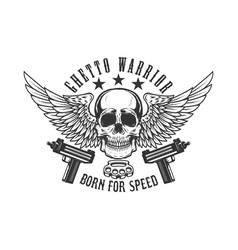 winged skull with guns design element for logo vector image