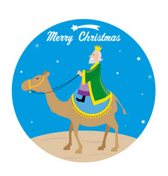 wise man melchoir on a camel vector image