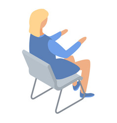 Woman architect on chair icon isometric style vector