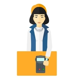 Woman paying with smart watch vector