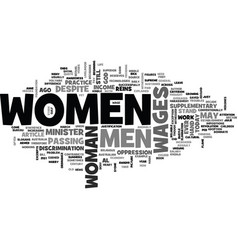 women s wages is it justified text word cloud vector image