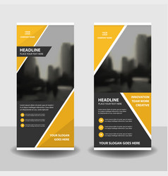 yellow business roll up banner flat design vector image vector image