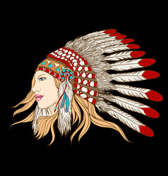 Young pretty girl in indian chief headdress vector