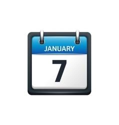 January 7 Calendar icon flat vector image vector image