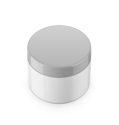 Round white glossy plastic jar for cosmetics vector image vector image