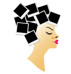 hairstyle with blank polaroids vector image vector image