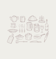 kitchen utensil set cooking equipment icons hand vector image vector image