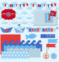 Nautical Sea Theme vector image vector image