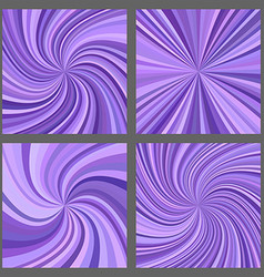 Purple spiral and ray burst background set vector image