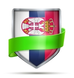 Shield with flag Serbia and ribbon vector image