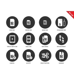 Sim card icons on white background vector image vector image