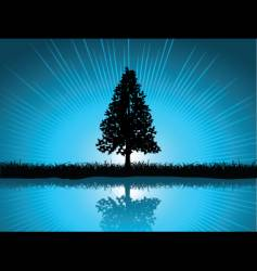 solitary tree vector image