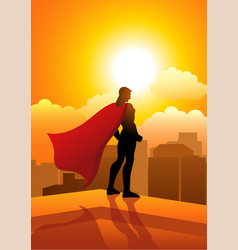 superhero standing on the edge of a building vector image vector image
