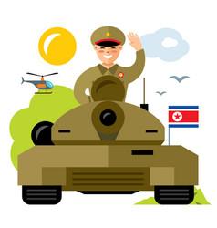 tankman north korea flat style colorful vector image vector image