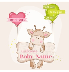 Baby Girl Arrival Card - with Cute Baby Giraffe vector image vector image