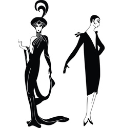 black silhouettes of the girls in retro style vector image