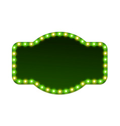 blank 3d retro light sign with shining bulbs vector image