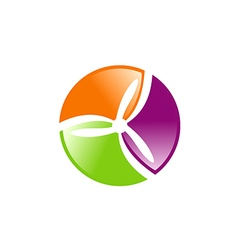 colorful spin abstract tech logo vector image
