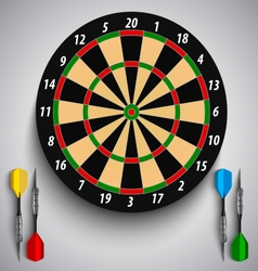 Dart boards with colored steel darts template vector image vector image