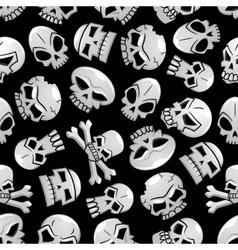 Halloween skeleton skulls seamless background vector image