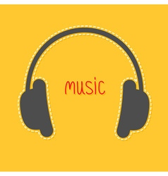 Headphones with dash line and red word Music Icon vector image vector image