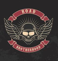 Road brotherhood skull in motorcycle helmet and vector