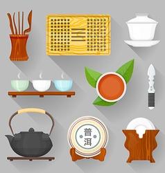 tea ceremony equipment set vector image vector image