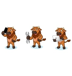 Bison Mascot with laptop vector image vector image
