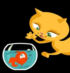 cat and fish cartoon vector image vector image