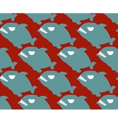 Fish seamless pattern naval piranha predatory fish vector