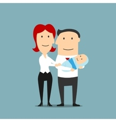 Mother with father who is holding baby or infant vector image vector image