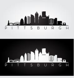pittsburgh usa skyline and landmarks silhouette vector image