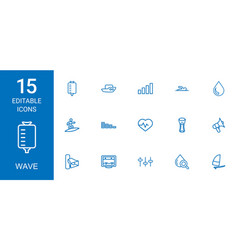 15 wave icons vector