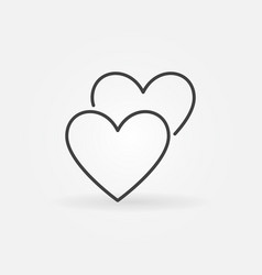 2 hearts line icon love concept outline vector