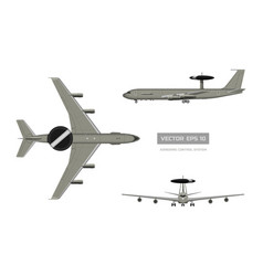 3d image of military aircraft top front and side vector