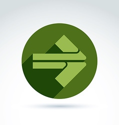 Abstract emblem with green arrow pointer Double vector