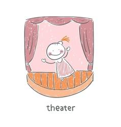 Actor in theater vector