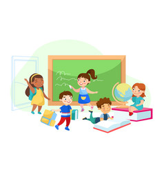 Back to school education children characters vector
