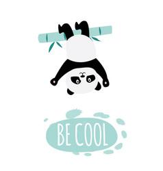 Be cool - cute cartoon panda hanging upside down vector