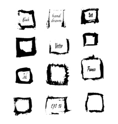 Black ink square borders vector