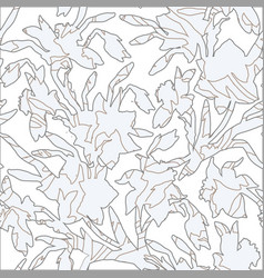botanical seamless pattern with silhouettes hand vector image