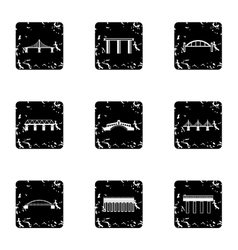 Bridge transition icons set grunge style vector
