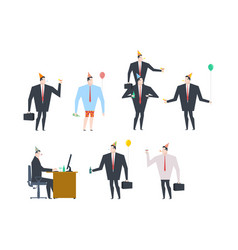 Businessman at party set celebratory cap and vector